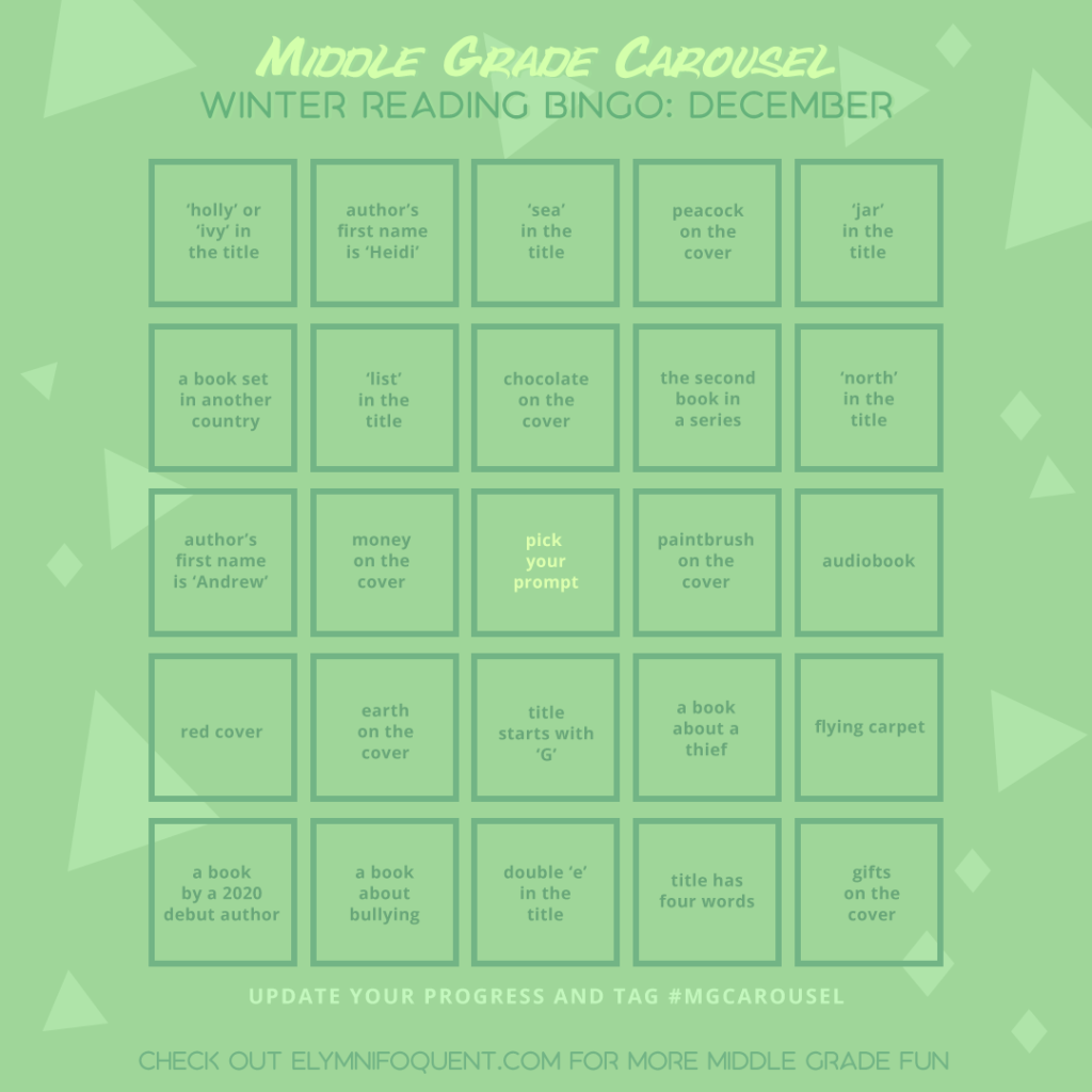Winter Reading Bingo card for December at Middle Grade Carousel