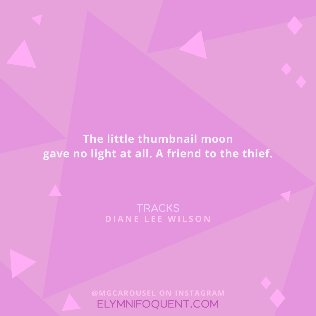 The little thumbnail moon gave no light at all. A friend to the thief. —TRACKS by Diane Lee Wilson
