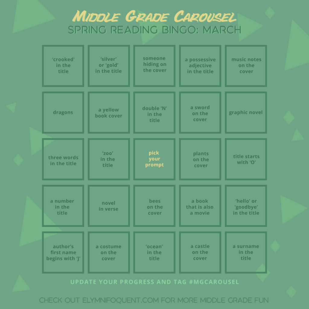 Spring Reading Bingo card for March at Middle Grade Carousel