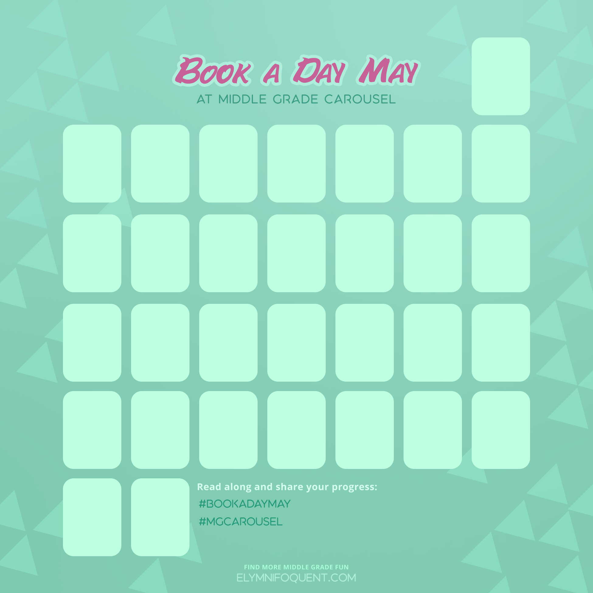 Calendar for Book A Day May 2021 at Middle Grade Carousel