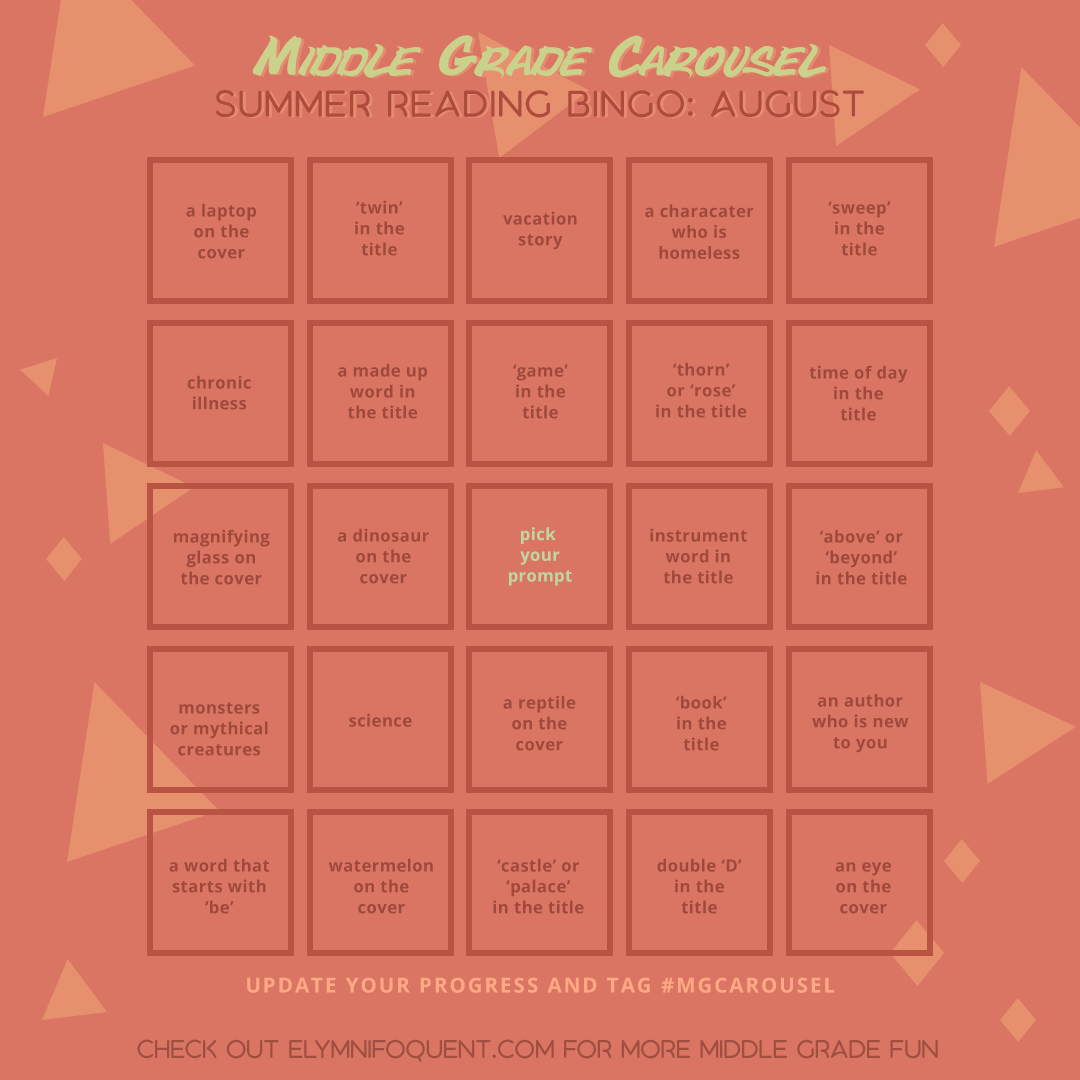 Summer Reading Bingo card for August at Middle Grade Carousel.