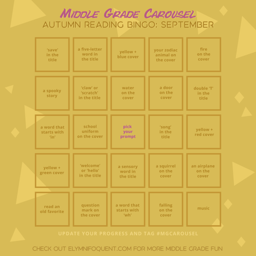 Autumn Reading Bingo card for September at Middle Grade Carousel.