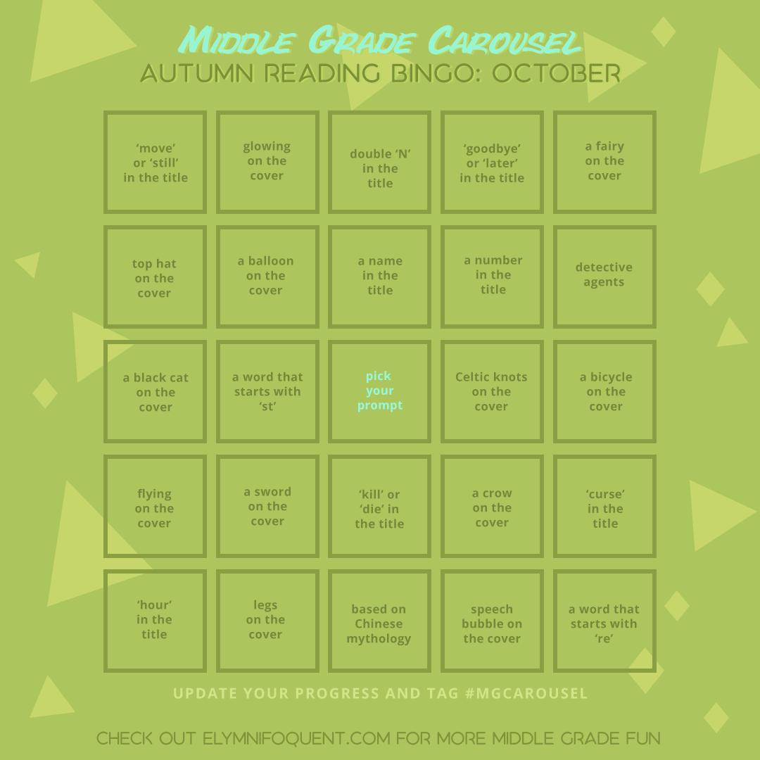 Autumn Reading Bingo card for October at Middle Grade Carousel.